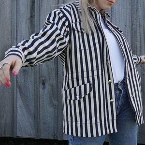 UO striped utility jacket sm boxy